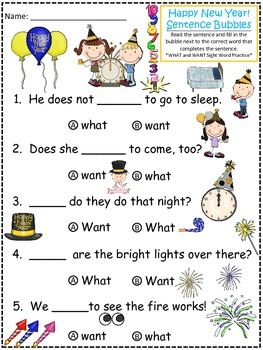 A+Happy New Year! Fill In the Blank.Multiple Choice Sight Word Sentences