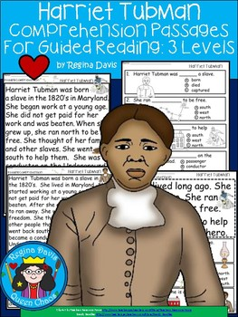 A+ Harriet Tubman Comprehension For Guided Reading...American Presidents
