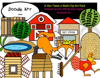 A Hen Goes on a Walk Clipart Pack