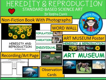 A+ Heredity & Reproduction Science Book, Word Wall, Photographs, Poster and Art