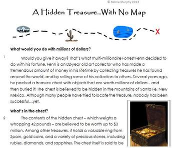 A Hidden Treasure With No Map: High-Interest Non-Fiction (Common Core Test Prep)