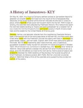 A History of Jamestown --  Cloze Reading