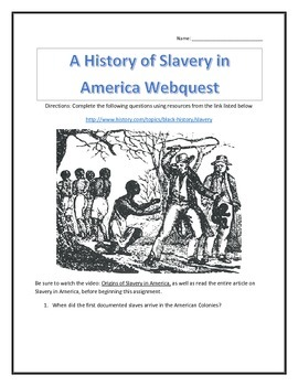 A History of Slavery in America - Webquest and Video Analy