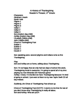 A History of Thanksgiving Reader's Theater