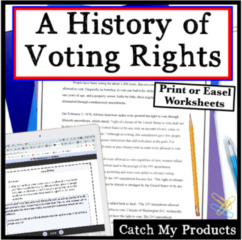 A History of Voting Rights - Close Read and Write