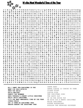 A Holiday Song Word Search