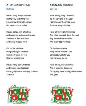 Christmas To Me Lyrics.Christmas Lyrics A Holly Jolly Christmas Error Correction Esl Ell
