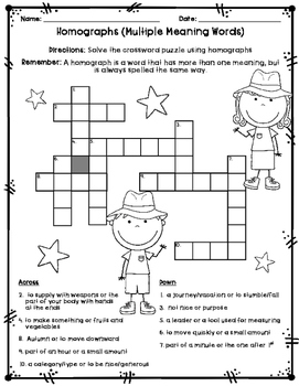Multiple Meaning Words (Homographs) - Game, Craftivity, Worksheets, Anchor Chart