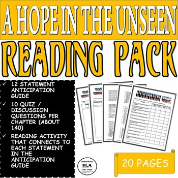 A Hope in the Unseen Anticipation Guide, Quiz Questions, and Reading Activity