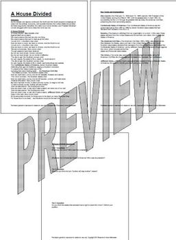 A House Divided, Song and Lesson Packet, by History Tunes