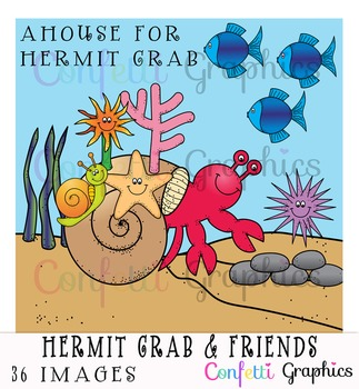 A House For Hermit Crab & Friends Sea Ocean Animal Clip Art 36 images