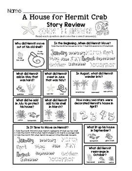 A House for Hermit Crab - Story Review Worksheet Set