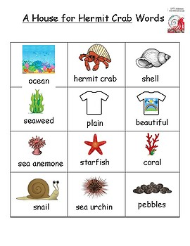 A House for Hermit Crab Vocabulary Word List