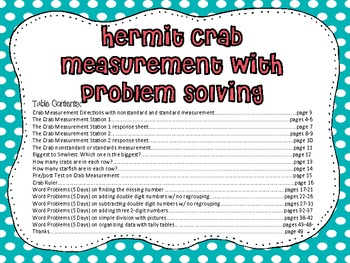 Hermit the Crab: Measurement and Problem Solving