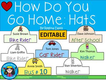 A+ How Do You Go Home? Editable Hats