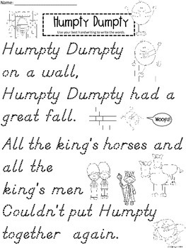 A+ Humpty Dumpty Handwriting Practice