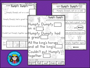 A+ Humpty Dumpty Literacy: Book, Word Wall, Poster ,Handwriting, Sequencing