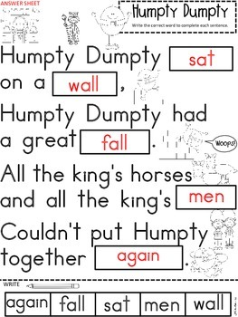 A+ Humpty Dumpty Nursery Rhyme:Fill In The Blank