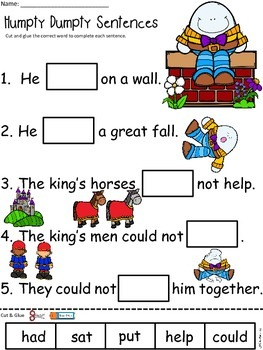 A+ Humpty Dumpty Sentences: Fill In The Blank