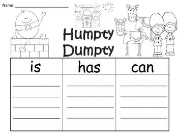 A+  Humpty Dumpty... Three Graphic Organizers