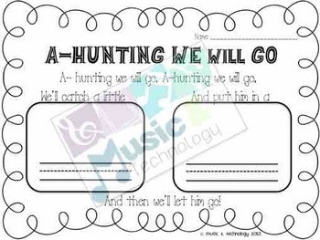 A-Hunting We Will Go- Create Your Own Verse Worksheet