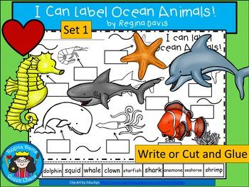 A+ I Can Label Ocean Animals! Set 1