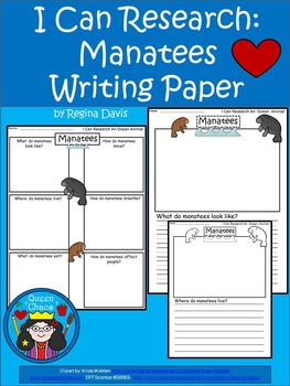 A+ I Can Research Manatees: Writing Paper