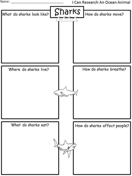 A+ I Can Research: Sharks....Writing Paper