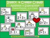 A+  Insect and Creepy Crawly Addition & Subtraction Fluency Practice Cards # 0-5