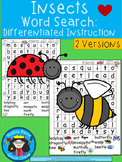 A+ Insects Word Search: Differentiated Instruction