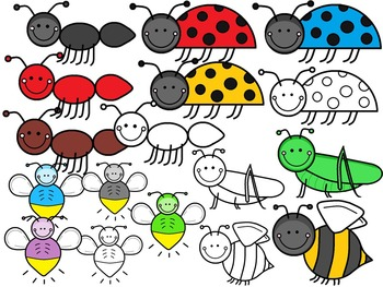 A+ Insects and Creepy Crawlies Clip Art...Color And Black And White Included
