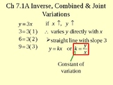 A Inverse, Combined and Joint Variations