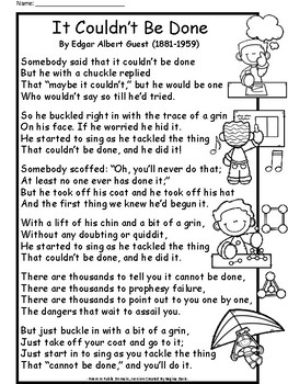 A+ It Couldn't Be Done Poem by Edgar Albert Guest