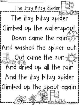 A+ Itsy BItsy Spider Comprehension For Guided Reading