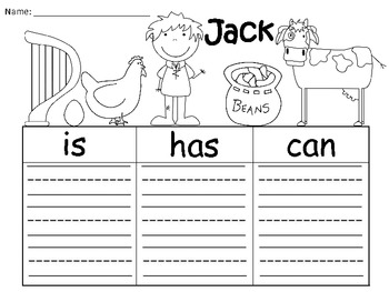 A+ Jack And The Beanstalk: Graphic Organizers For Jack