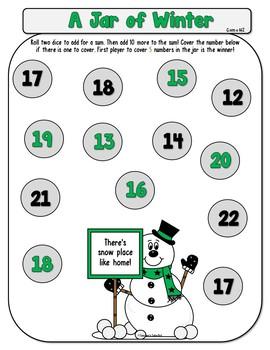 A Jar of Winter Math Games Dollar Deal