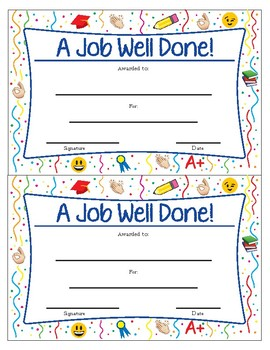 "A Job Well Done Award 2 on one page size 8.5"" x 11"""