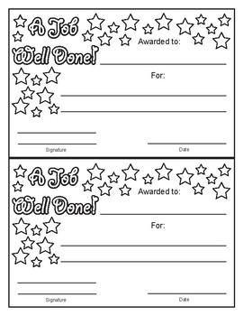 A Job Well Done Stars Design Black & White Award