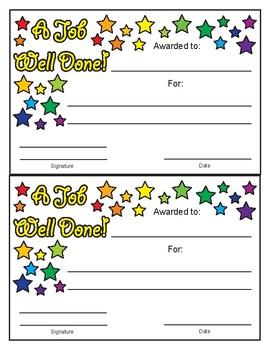 A Job Well Done Stars Design Color Award