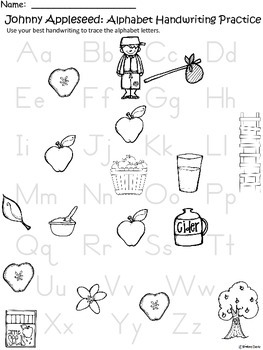 A+ Johnny Appleseed Alphabet Handwriting Practice
