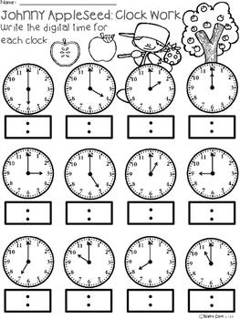 A+ Johnny Appleseed Analog Clock & Digital Clock Work (Hour & Half Hour)