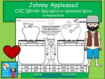 A + Johnny Appleseed CVC Word Sort: Real Or Nonsense Words