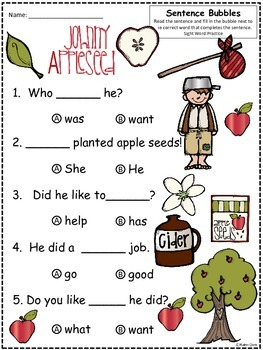 A+ Johnny Appleseed: Fill In the Blank.Multiple Choice Sight Word Sentences