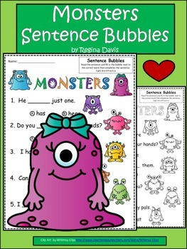 A+ Monsters: Fill In the Blank.Multiple Choice Sight Word Sentences