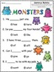 A+ Monsters: Fill In the Blank.Multiple Choice Sight Word