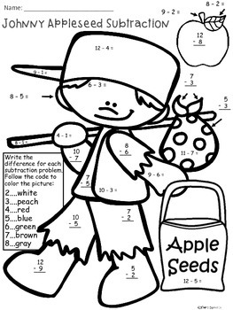 A+  Johnny Appleseed Subtraction: Color By Number