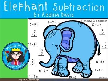 A+  Elephant Subtraction Quick Math