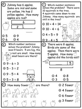 A+  Johnny Appleseed: Subtraction Practice