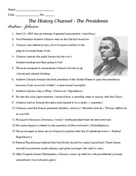 A. Johnson - Wilson Video Guide - History Channel Series The Presidents