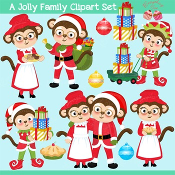 A Jolly Family Monkey Santa Clipart Set